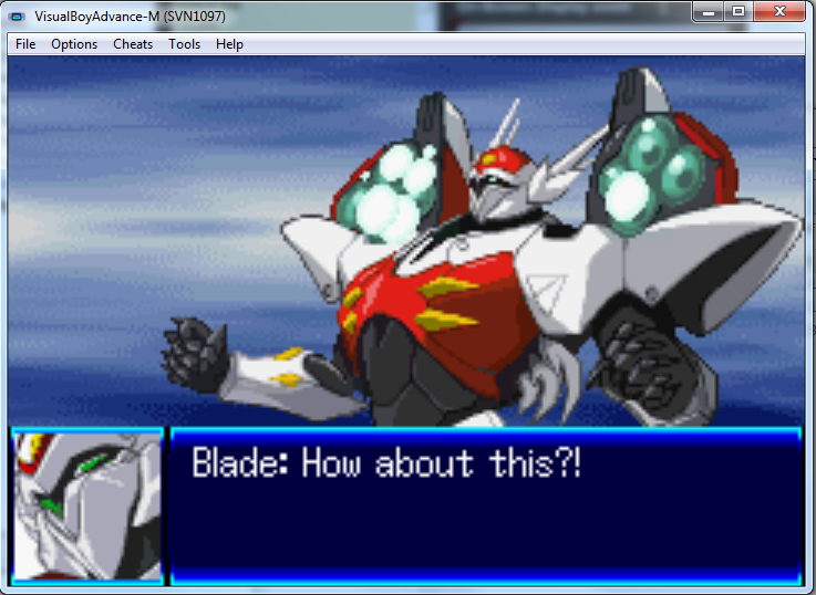 A fan-translated ROM of Super Robot Wars J running in the VBA-M Gameboy Advance emulator.